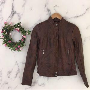 Bernardo Faux Leather Bomber Jacket
